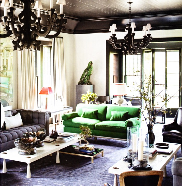 stylebyemilyhenderson.com black-ceiling-black-ornate-pendents-green-sofa-living-room-elle-decor-pg-69