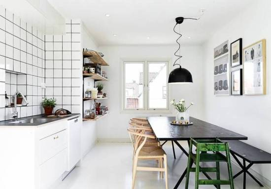 141121 dining bench_white-scandinavian-kitchen-dinning-room-design-with-black-table-unique-pendant-bench